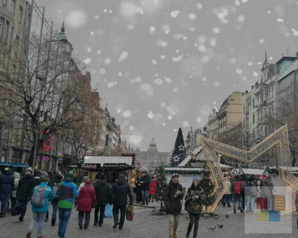 Weihnachtsmarkt auf dem Wenzelsplatz in Prag