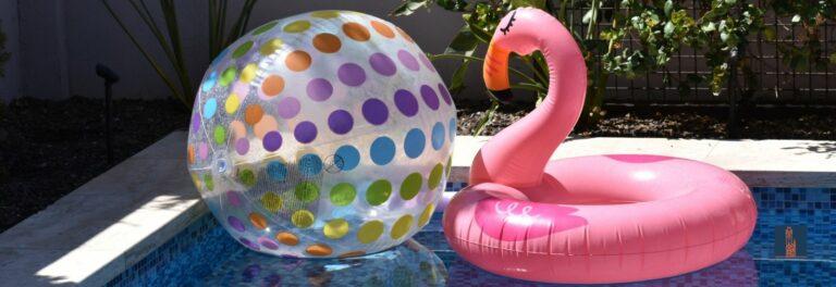 Rosa Flamingo im Pool